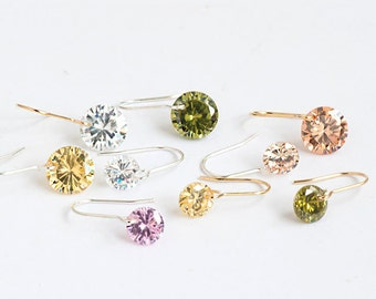 Tiny CZ Earrings, Gold Filled / Sterling Silver Earhook, 2 CZ Size, 5 cz Color Option, Minimalist Wedding Bridesmaid Sister Girlfriend wj pm
