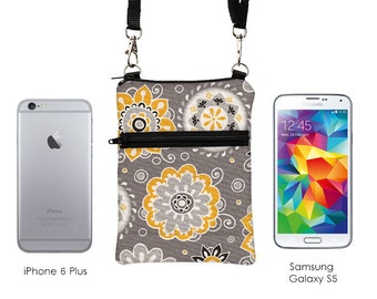 Cell Phone Purse with Strap, Small Cross Body Purse, Fits iPhone 7, 6, Shoulder Bag, Samsung Galaxy S Sling Bag - gray black yellow floral