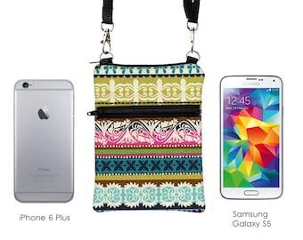 Small Travel Bag, Phone Crossbody, Smartphone Sling Pouch, Fits iPhone 6 Plus Zipper Shoulder Bag - boho aqua pink stripes