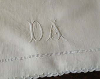 French Linen Baby Sheet Antique White Linen Bed Crib Sheet 39 by 58 Monogrammed