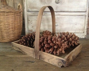 Antique Wood Berry Basket Tray Farmstand Farmers Market Primitive Farmhouse Decor Display