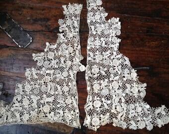 Antique Handmade Irish Crochet Needle Lace Vest Collar ~ Ecru Linen ~ c 1800s ~ Project Lace Dress Embellishment