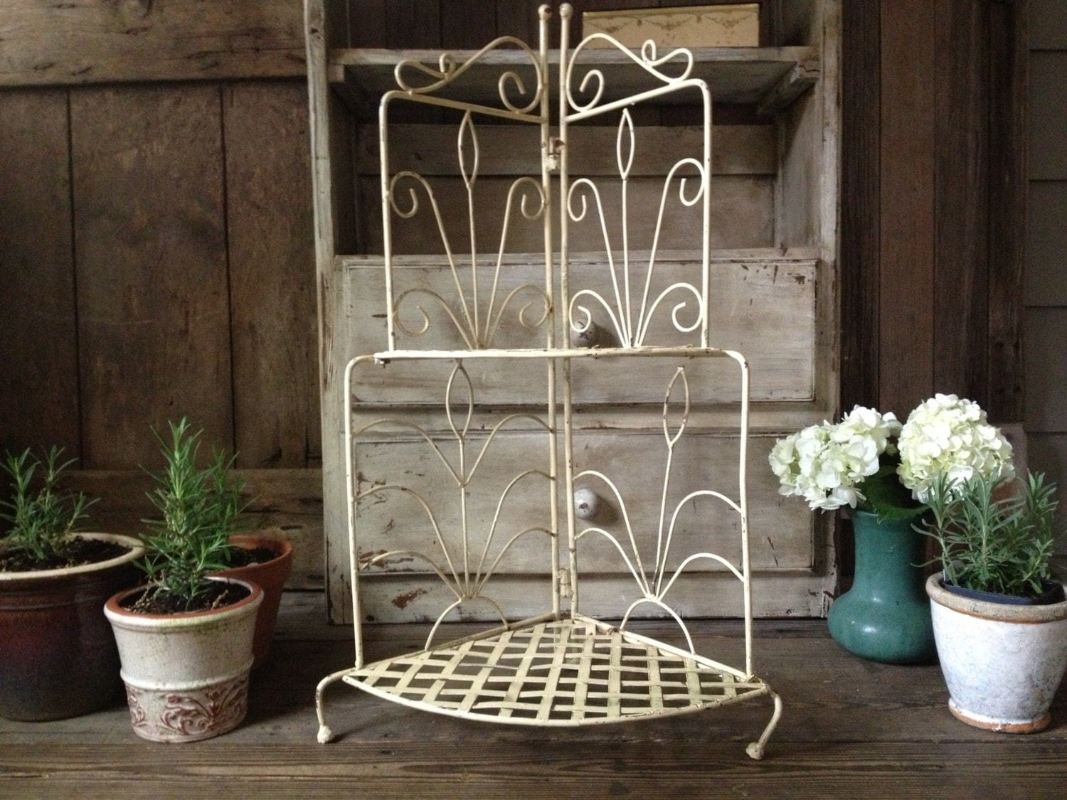 french wrought iron plant stand french country farmhouse. Black Bedroom Furniture Sets. Home Design Ideas