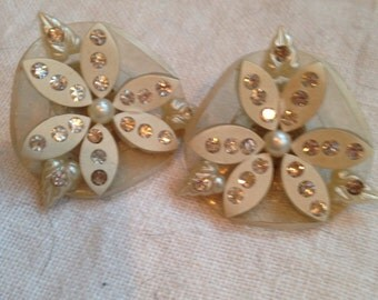 Clear Lucite and White Flower Earrings with Rhinestones