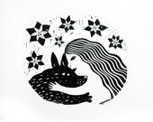 Girl and Dog Linocut Print Limited Edition of 100