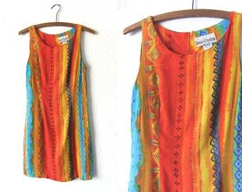 Rainbow Tie Dye Tunic Dress - Pastel Watercolor 90s Flowy Sleeveless Mini Tank Dress - Womens Small