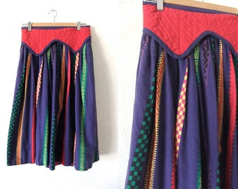 Guatemalan Style Flowy Skirt - Boho Hippie Quilted Top Pleated Peasant Circle Skirt - Womens Small / Medium