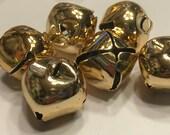 6 large shinny gold metal jingle bells, 25 mm (BR104)