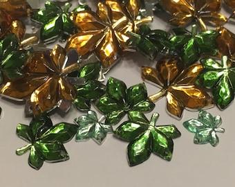 12 sew on leaf gems, 10-19 mm (16)