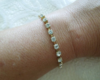 Vintage Rhinestone Bracelet, Gold Tone Base with Clear Rhinestones, 7 Inches Long