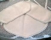 3 Hand stitched table scarves, 11 x 9, & 2  11 x 5 inch, Vintage doily, Cream, Ecru doily