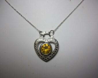 Brazilian Colheita Fire Opal Heart Shaped Necklace