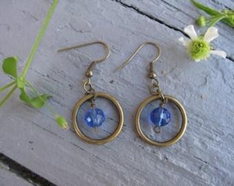 Blue Hoop and Gem Earrings / Bronze Circle Earrings / Hoop Earring