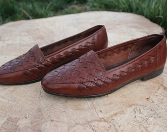 Brazilian Brown Woven Leather Loafers