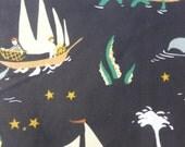 1/2 Yard Organic Cotton Fabric - Birch Fabrics, Saltwater, Here Be Monsters Black