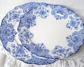 set of 2 antique plates blue vintage dinner plate vintage breakfast plate blue flowers shabby chic blue floral plates antique blue plates