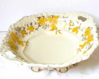 antique serving dish yellow floral serving dish vintage bowl serving bowl antique yellow floral dish Mitterteich