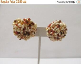 On Sale Vintage Beaded Cluster Earrings Item K # 1588