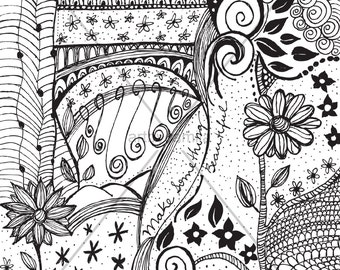 Black and White Doodle Drawing