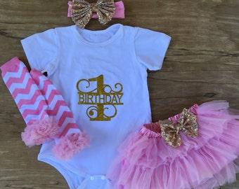 35% off baby girl first birthday outfit, tutu skirt, legging, headband, girl cotton romper, girl legging, white pink gold