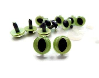 12mm Cat Eyes Safety Eyes Plastic Eyes Animal Eyes Toy Eyes --Green--10 pairs
