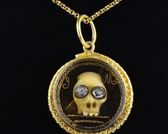 Georgian English 22 Kt gold Stuart crystal memento mori skull diamond pendant