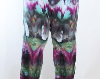 Lady's    Leggings, Ice Dyed Tie Dyed In a Purple Emerald Fanfold Design, Made to Order