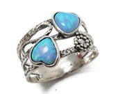 Opal ring. Romantic sterling silver ring. Heart ring. Silver heart ring. Opal heart ring. Silver opal heart ring. (sr-9970-1465)