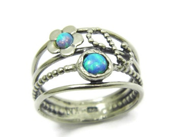 Opal ring. Floral sterling silver opal ring. Silver ring. Floral opal ring. Floral silver ring. Floral ring. (sr-9921-1335) opal jewelry