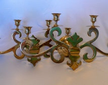 Vintage Candlestick Holders Wall Hanging Large Set of Two  Brass 4 Candle Holders with Wax Catchers Fleur de Lis