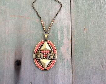 Double Eagle Neclace/Pendant/Southwestern/Tribal/Aztec