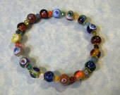 Rainbow Multicolor Murano Glass Millefiori and Faceted Glass Stretch Bracelet