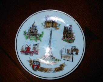 """Paris France souvenir plate Eiffel Tower Porcelaine 6"""" NEM"""