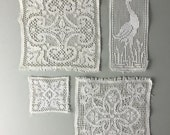 Antique lace panels, french lace / off white lace / wedding dress / vintage textiles / quilting