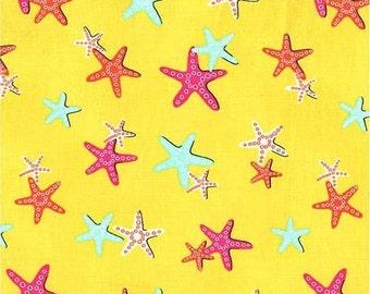 Michael Miller fabric STARFISH on Yellow