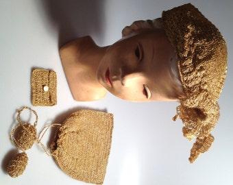 1930s Vintage GOLD Hat Metallic Hat Crocheted HAT Movie Costume Drawstring POUCH Matching Set Vintage Hat & Purse Metallic Thread