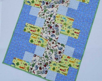 Frogs Lizards Alligators Baby or Toddler Gender Neutral Quilt Play Pad