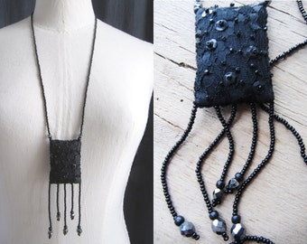 Black pendant, lace and beads, handmade.