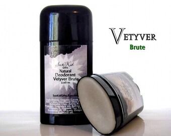 Men's Natural Deodorant - Vetyver Brute - Aluminum Free Deodorant - 2.65 oz.