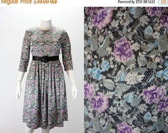 SALE 40% off Dress XL - Vintage Dress XL - Lace and Floral Print