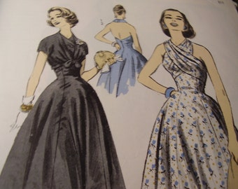 Vintage 1950's Advance 8322 Dress Sewing Pattern, Size 12, Bust 32