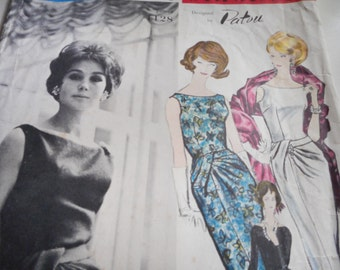 Vintage 1960's Vogue 1128 Paris Original Patou Dress and Stole Sewing Pattern Size 12 Bust 32