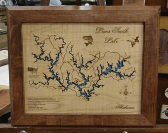 Lewis Smith Lake Alabama wooden laser engraved lake map wall hanging