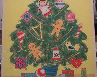 Vintage 1960's Trim A Tree Frame Puzzle Whitman