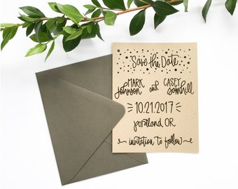 Save the Date Stamp - Custom hand lettered save the date wedding invitation rubber stamp - wedding calligraphy stamp - H1600