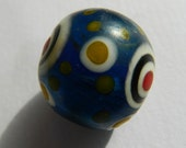 Chinese Dzi Stratified Eye Dotted Matte blue Lampwork glass Bead - Trade Bead Vintage Chinese Focal Pendant bead