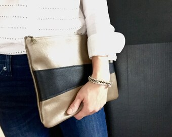 Leather clutch, beige/goldish leather bag, leather purse