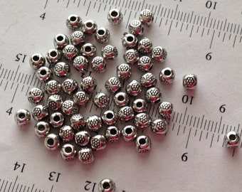 20pcs-5mm sterling silver large hole beads, detailed antique silver spacers