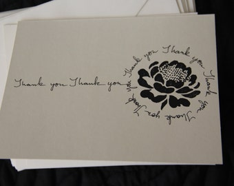 Thank you cards. Thank you notes. All Occasion Thank you cards. Black & white Thank you cards. Handmade Thank you.Geometric.All around rose.