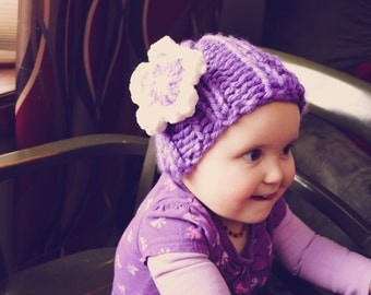 Purple and White Flower Hat